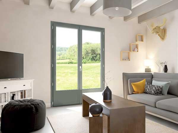 Porte-fenêtre PVC gris