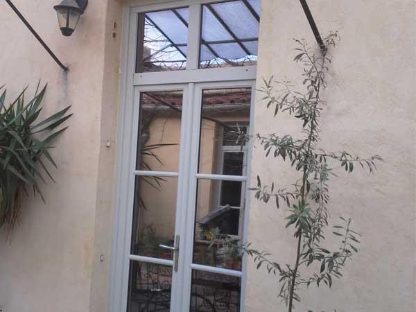 Porte -fenêtre bois avec imposte